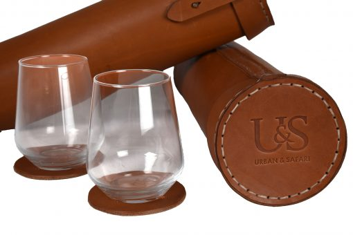 Leather Canister with Glasses & Coasters
